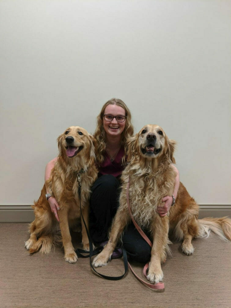 Veterinary employee kneeing next to two dogs